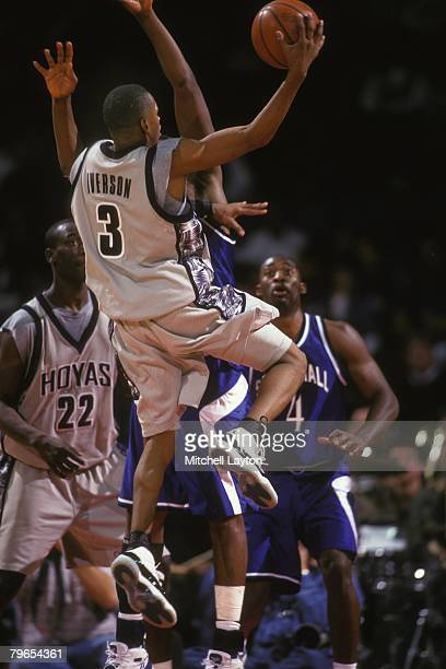 Allen Iverson of the Georgetown Hoyas goes to the basket during a basketball game against the Seton Hall Pirates at Capital Centre on January 15 1996...