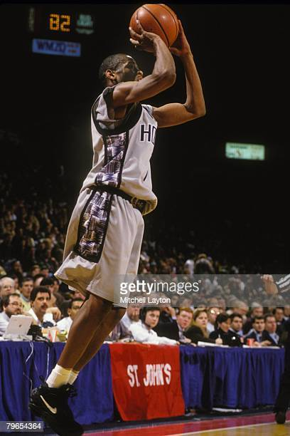 Allen Iverson of the Georgetown Hoyas takes a jump shot during a basketball game against the at Capital Centre on January 15 1996 in Landover Maryland