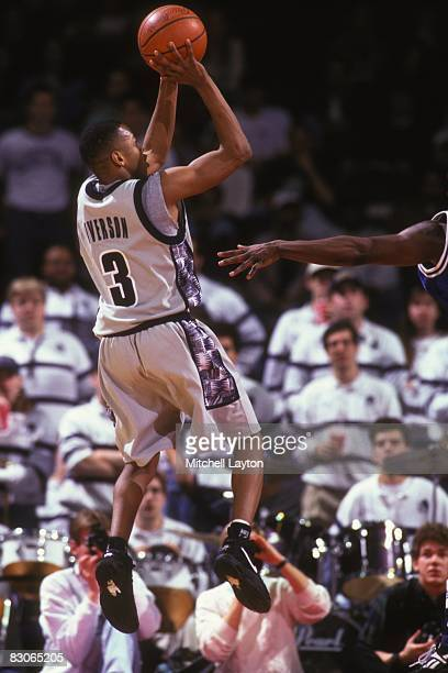 Allen Iverson of the Georgetown Hoyas takes a jump shot during a college basketball game at the USAir Arena on December 30 1995 in Landover Maryland