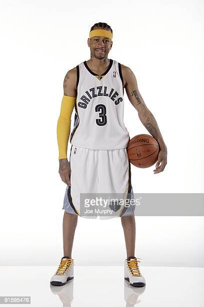 Allen Iverson of the Memphis Grizzlies poses for a portrait during NBA Media Day on September 28 2009 at the FedExForum in Memphis Tennessee NOTE TO...