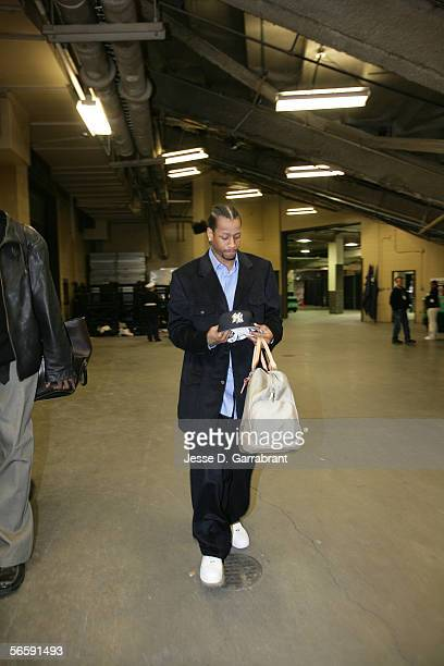 Allen Iverson of the New Jersey Nets arrives the play against the Philadelphia 76ers at the Continental Airlines Arena on December 10 2005 in East...