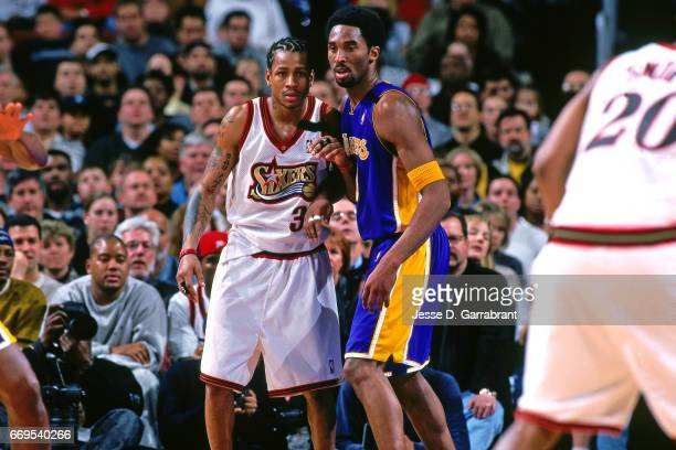 Allen Iverson of the Philadelphia 76ers and Kobe Bryant of the Los Angeles Lakers battle for position during a game played on February 20 2000 at the...