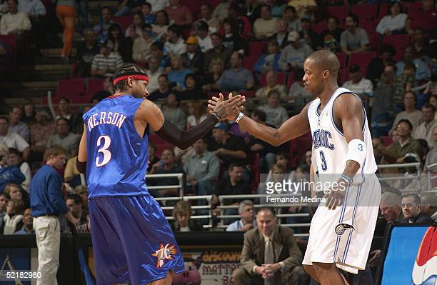 Allen Iverson of the Philadelphia 76ers and Steve Francis of the Orlando Magic shake hands prior to the game on January 22 2005 at TD Waterhouse...