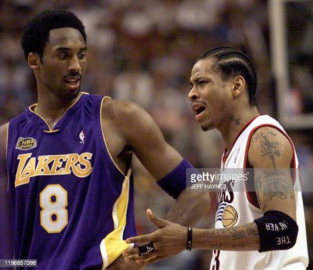 Allen Iverson of the Philadelphia 76ers argues a call in front of Kobe Bryant of the Los Angeles Lakers during game five of the NBA Finals 15 June...