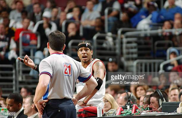 Allen Iverson of the Philadelphia 76ers argues a call with referee Tim Donaghy in Game two of the Eastern Conference Quarterfinals against the New...