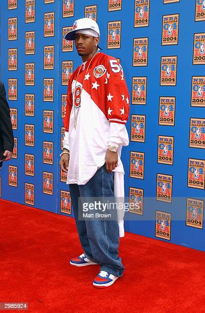 Allen Iverson of the Philadelphia 76ers arrives at the 2004 NBA AllStar Game on February 15 2004 at the Staples Center in Los Angeles California NOTE...