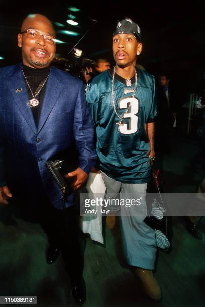 Allen Iverson of the Philadelphia 76ers arrives during Game One of the 2001 NBA Finals on June 6, 2001 at Staples Center in Los Angeles, California....