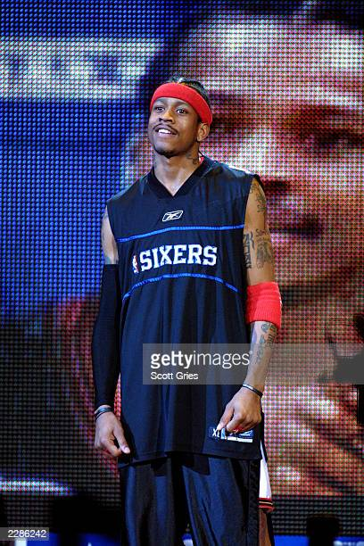 Allen Iverson of the Philadelphia 76ers at the NBA AllStar Game at the First Union Center in Philadelphia Pa 2/10/02 Photo by Scott Gries/NBAE/Getty...