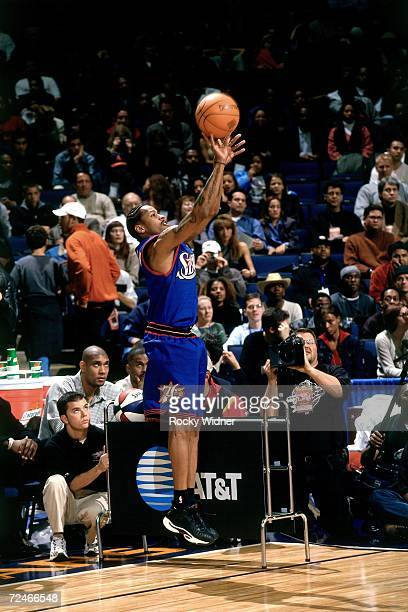 Allen Iverson of the Philadelphia 76ers attempts a shot during the 2000 ATT Three Point Shootout on February 12 2000 at the Arena in Oakland...