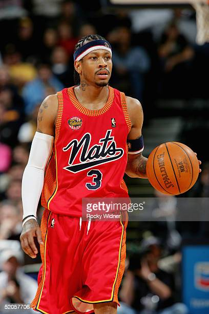Allen Iverson of the Philadelphia 76ers brings the ball upcourt during the game against the Golden State Warriors at the Arena in Oakland on January...