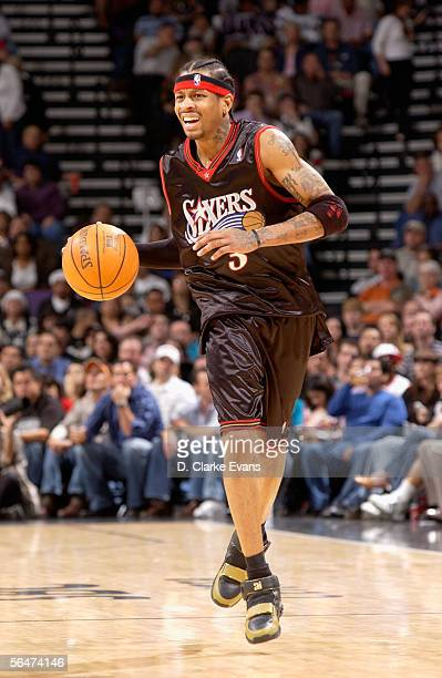 Allen Iverson of the Philadelphia 76ers brings the ball upcourt during the game against the San Antonio Spurs at SBC Center on December 3 2005 in San...