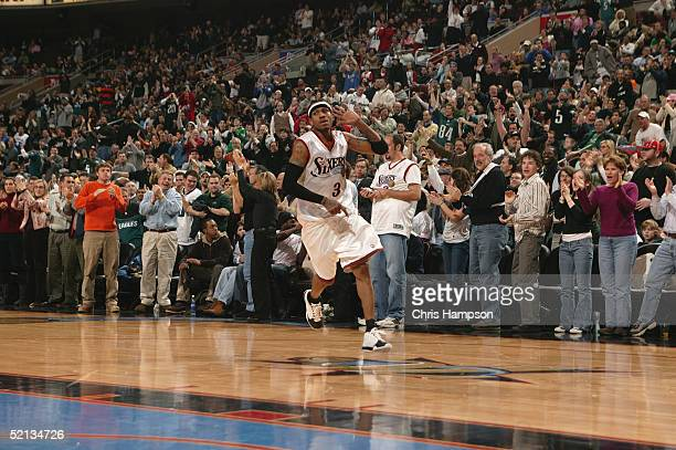 Allen Iverson of the Philadelphia 76ers celebrates during the game against the Miami Heat on January 24 2005 at the Wachovia Center in Philadelphia...