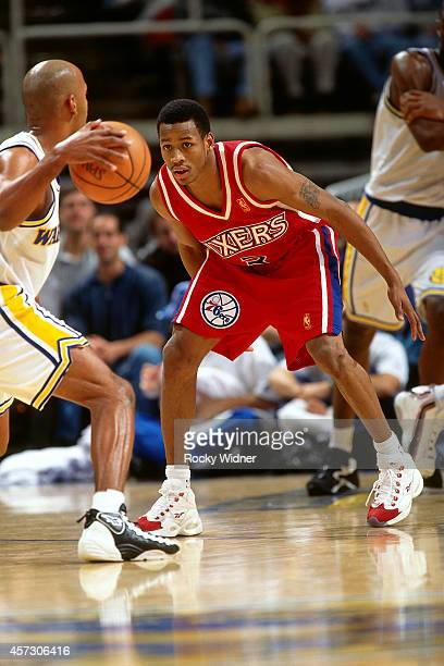 Allen Iverson of the Philadelphia 76ers defends against the Golden State Warriors on January 3, 1997 at the Arena in Oakland in Oakland, California....