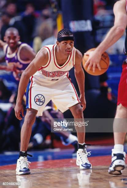 Allen Iverson of the Philadelphia 76ers defends during the 1997 Rookie Game played February 8, 1997 at the Gund Arena in Cleveland, Ohio. NOTE TO...