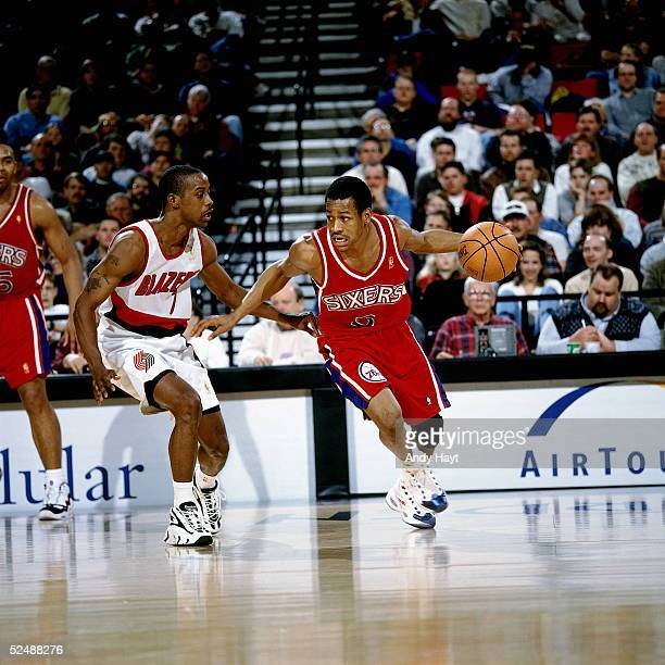 Allen Iverson of the Philadelphia 76ers dribble drives to the basket against the Portland Trail Blazers on March 2 1997 at the The Rose Garden in...
