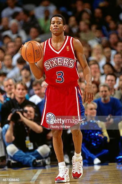 Allen Iverson of the Philadelphia 76ers dribbles against the Golden State Warriors on January 3, 1997 at the Arena in Oakland in Oakland, California....