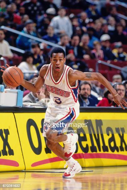 Allen Iverson of the Philadelphia 76ers dribbles during a game circa 1998 at the Spectrum in Philadelphia Pennsylvania NOTE TO USER User expressly...