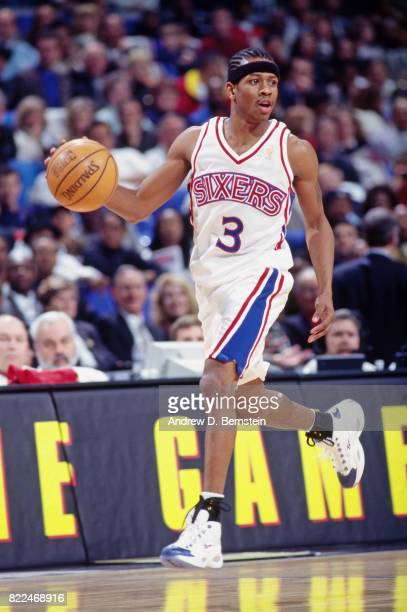 Allen Iverson of the Philadelphia 76ers dribbles during the 1997 Rookie Game played February 8 1997 at the Gund Arena in Cleveland Ohio NOTE TO USER...