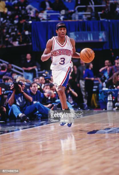 Allen Iverson of the Philadelphia 76ers dribbles during the 1997 Rookie Game played February 8, 1997 at the Gund Arena in Cleveland, Ohio. NOTE TO...