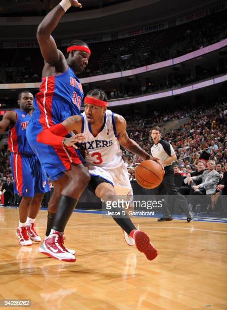 Allen Iverson of the Philadelphia 76ers drives against Kwame Brown of the Detroit Pistons during the game on December 9 2009 at the Wachovia Center...
