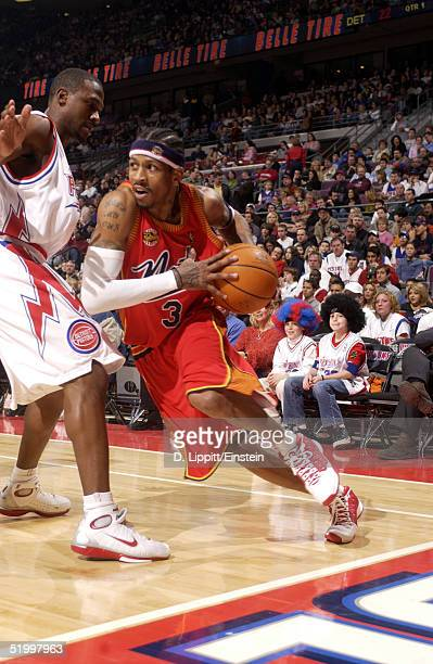 Allen Iverson of the Philadelphia 76ers drives against Lindsey Hunter of the Detroit Pistons on January 15 2005 during their game at the Palace of...