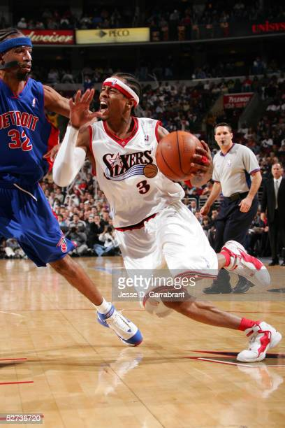Allen Iverson of the Philadelphia 76ers drives against Richard Hamilton of the Detroit Pistons during Game three of the Eastern Conference...