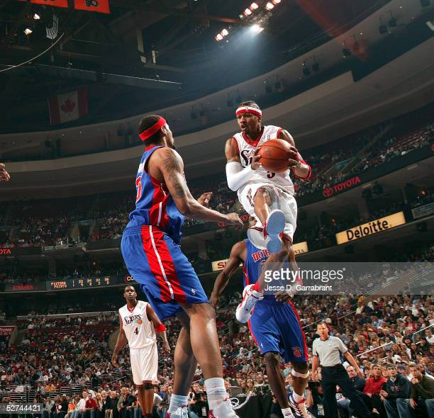Allen Iverson of the Philadelphia 76ers drives against the Detroit Pistons in Game four of the Eastern Conference Quarterfinals during the 2005 NBA...