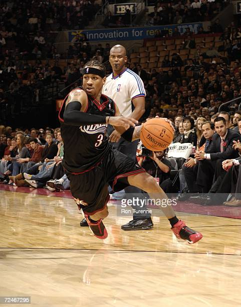 Allen Iverson of the Philadelphia 76ers drives hard during a game against the Toronto Raptors at the Air Canada November 8 2006 Centre in Toronto...