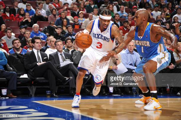 Allen Iverson of the Philadelphia 76ers drives the ball against Chauncey Billups of the Denver Nuggets during the game on December 7 2009 at the...