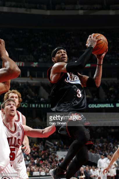 Allen Iverson of the Philadelphia 76ers drives to the basket against the Chicago Bulls on April 8 2006 at the United Center in Chicago Illinois NOTE...