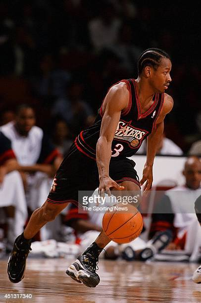 Allen Iverson of the Philadelphia 76ers drives to the basket during the game against the Houston Rockets on November 12 1997 at the Compaq Center in...