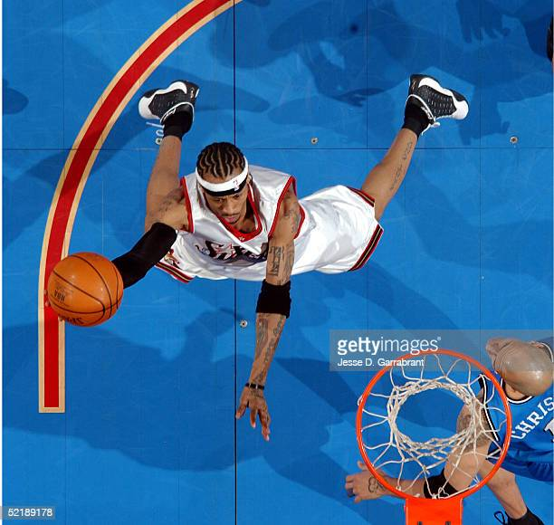 Allen Iverson of the Philadelphia 76ers drives to the hoop against the Orlando Magic on February 12 2005 at the Wachovia Center in Philadelphia...