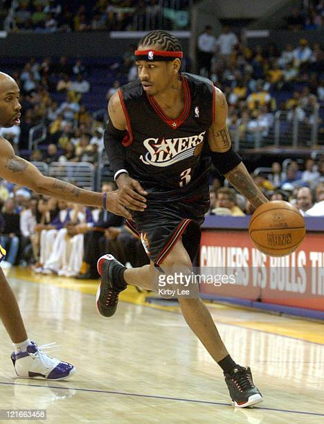 Allen Iverson of the Philadelphia 76ers drives with the ball during the NBA game between the Los Angeles Lakers and the Philadelphia 76ers at the...