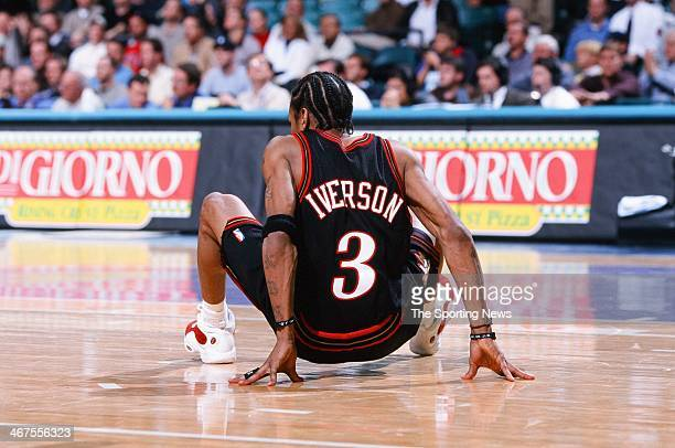 Allen Iverson of the Philadelphia 76ers during the game against the Charlotte Hornets on January 20 2000 at Charlotte Coliseum in Charlotte North...