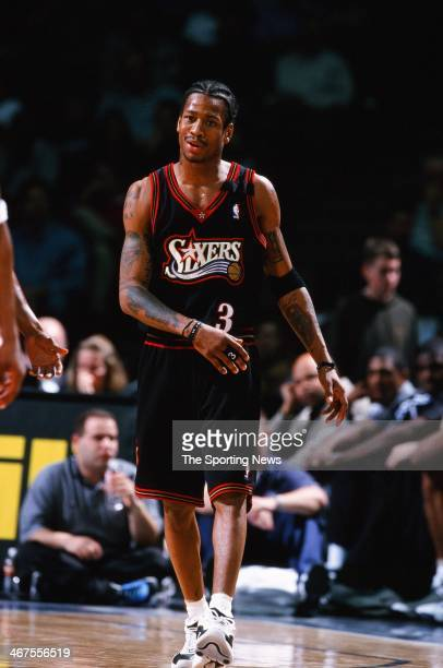 Allen Iverson of the Philadelphia 76ers during the game against the Houston Rockets on February 3 2000 at Compaq Center in Houston Texas