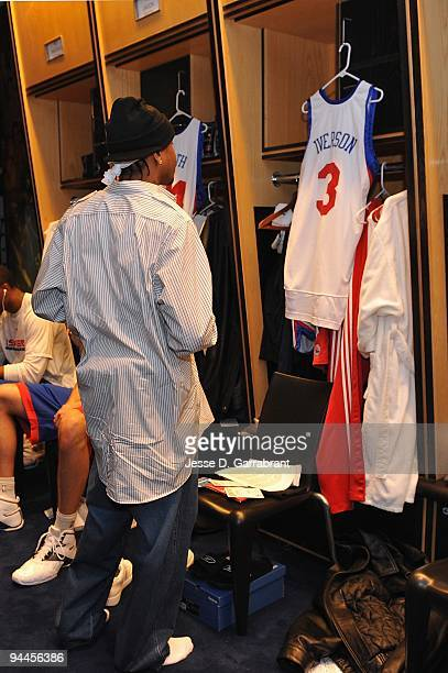 Allen Iverson of the Philadelphia 76ers gets dressed in the locker room before the game against the Denver Nuggets on December 7 2009 at the Wachovia...