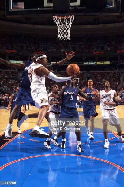 Allen Iverson of the Philadelphia 76ers gets under the basket during the preseason game against the Washington Wizards on October 15 2002 at First...