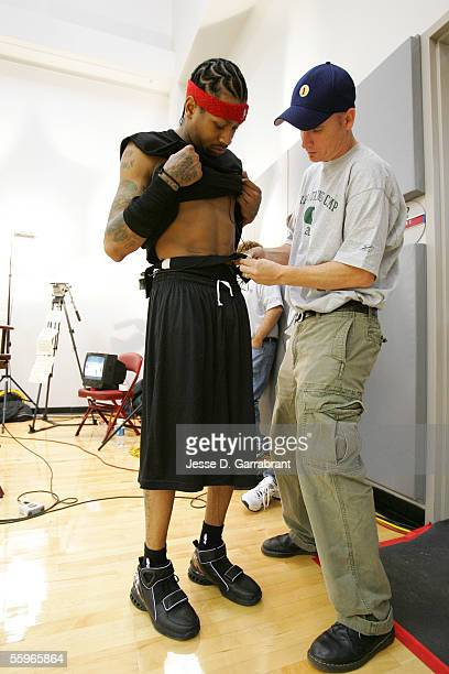 Allen Iverson of the Philadelphia 76ers gets wired up for Real Training Camp on October 19 2005 at the Philadelphia College of Osteopathic Medicine...