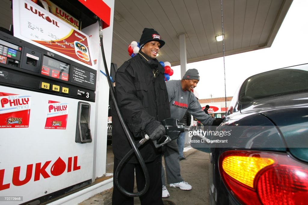 Philadelphia 76ers At Lukoil Gas Station : News Photo