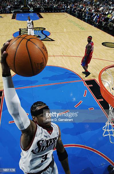Allen Iverson of the Philadelphia 76ers goes for the dunk during the NBA game against the Los Angeles Clippers at First Union Center on November 6...