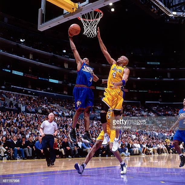 Allen Iverson of the Philadelphia 76ers goes up for a dunk against the Los Angeles Lakers at the Staples Center on March 31 2000 NOTE TO USER User...