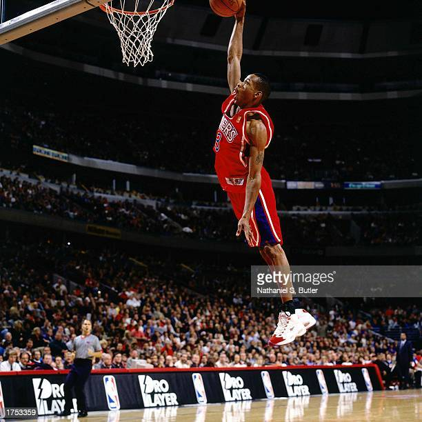 Allen Iverson of the Philadelphia 76ers goes up for a slam dunk during the 1997 NBA season NOTE TO USER User expressly acknowledges and agrees that...