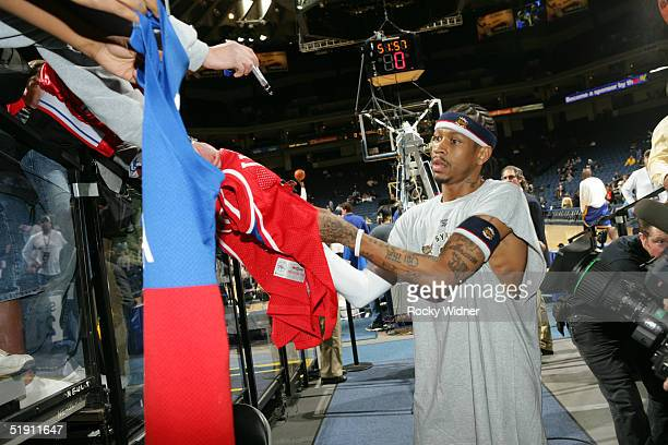 Allen Iverson of the Philadelphia 76ers greets fans before the game against the Golden State Warriors at the Arena in Oakland California NOTE TO USER...