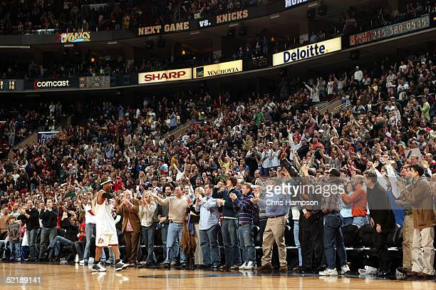Allen Iverson of the Philadelphia 76ers hears it from the crowd during a game against the Orlando Magic on February 12 2005 at the Wachovia Center in...