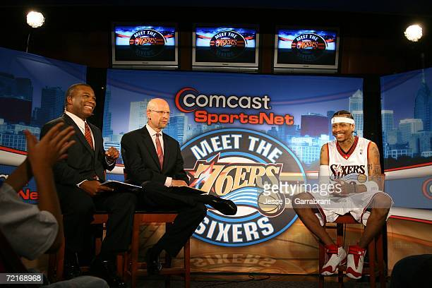 Allen Iverson of the Philadelphia 76ers is interviewed on Comcast SportsNet before the game against the New York Knicks on October 14 2006 at the...