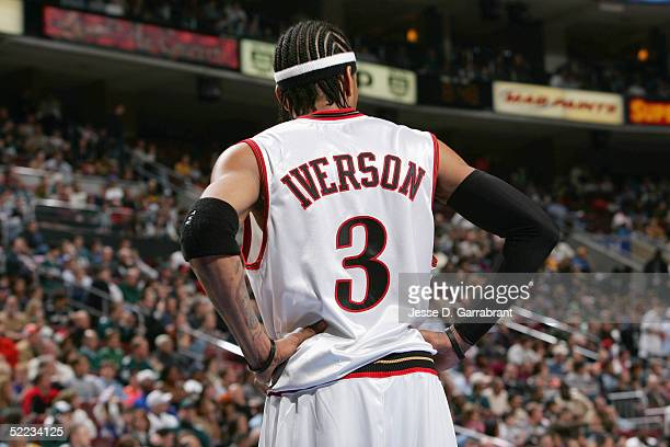 Allen Iverson of the Philadelphia 76ers looks on against the Atlanta Hawks on February 4 2005 at the Wachovia Center in Philadelphia Pennsylvania The...