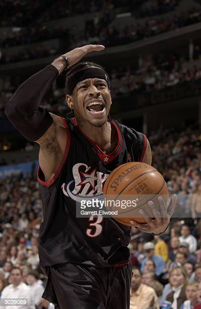Allen Iverson of the Philadelphia 76ers looks upset during the game against the Denver Nuggets at the Pepsi Center on February 17 2004 in Denver...