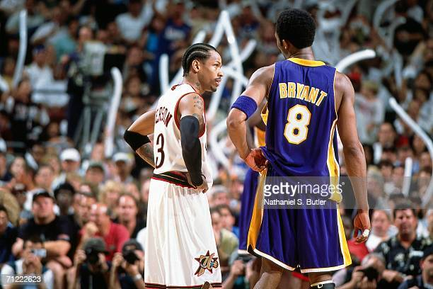 Allen Iverson of the Philadelphia 76ers matches up against Kobe Bryant of the Los Angeles Lakers during game five of the NBA FInals June 15 2001 at...