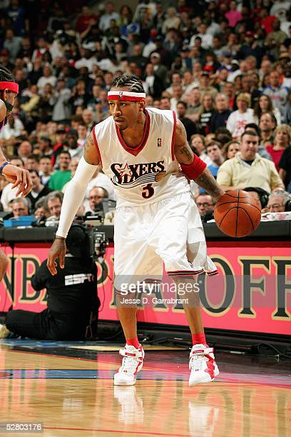 Allen Iverson of the Philadelphia 76ers moves the ball during Game four of the Eastern Conference Quarterfinals against the Detroit Pistons on May 1...