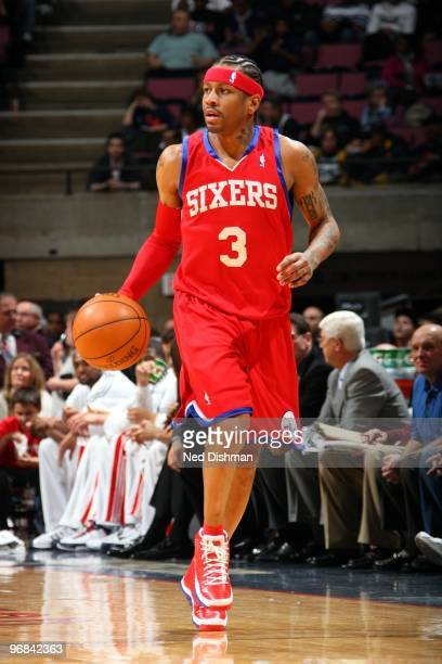 Allen Iverson of the Philadelphia 76ers moves the ball up court during the game against the New Jersey Nets at the IZOD Center on January 31 2010 in...